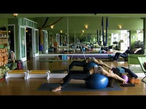 Emily Sabo's Yoga Class (1-16-2015)-Stability Ball Workout--full body deep & restorative stretching