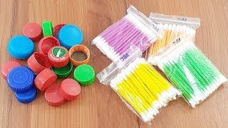 Amazing home decorating idea Out of waste plastic bottles caps & cotton buds