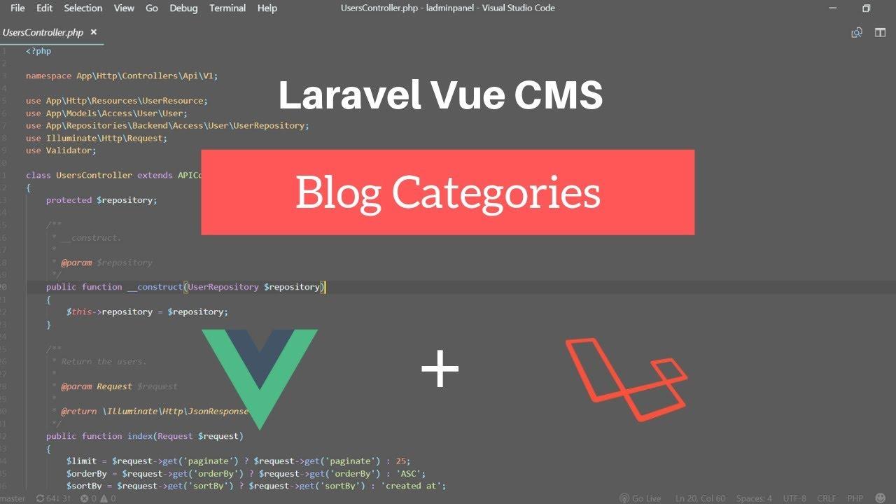 Blog categories : Laravel Vue CMS