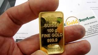 Gambar cover Swiss Gold Bars.  Portland Gold Buyers, LLC - 100 Grams Gold