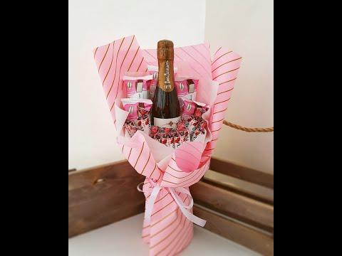 Букет из конфет и шампанского своими руками