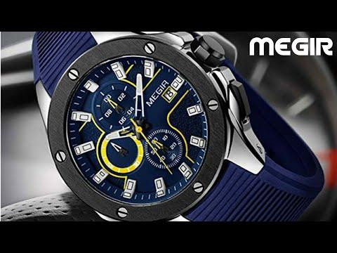 MEGIR Chronograph Silicone Quartz Army Military Watch  Luxury Male Relogio Masculino  Ali express.