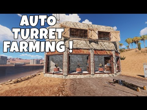 RUST | FARMING GEARED PLAYERS WITH AN AUTO TURRET BASE!