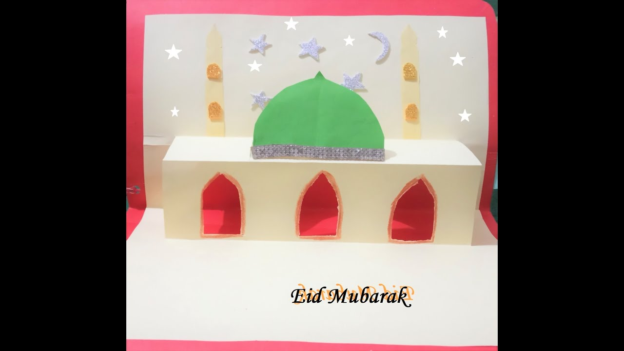how to make eid card pop up mosque  youtube