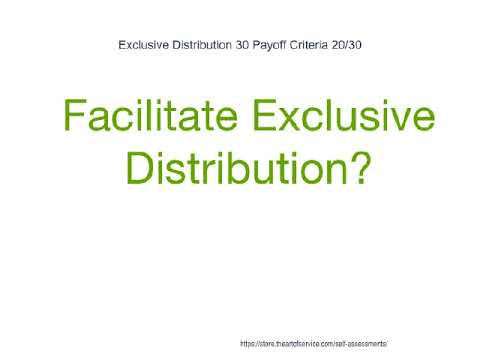 Exclusive Distribution 30 Payoff Criteria