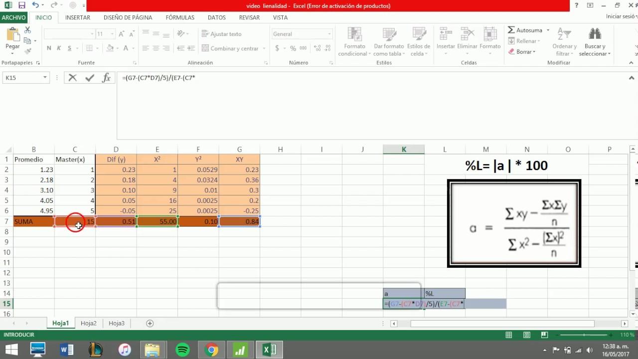 Linealidad en Excel y Minitab - YouTube