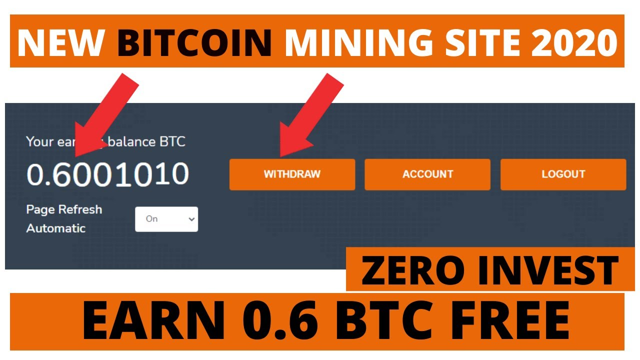 New Bitcoin Mining Site 2020 Without Investment Earn 0 6 Btc Free Startminer Website Youtube