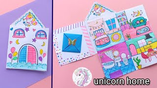 How to make Beautiful Paper House | DIY Miniature paper House / How To Make Unicorn Paper Doll book