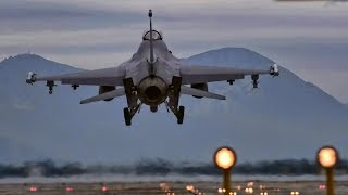 F-16s Takeoff & Land • View From Behind The Runway