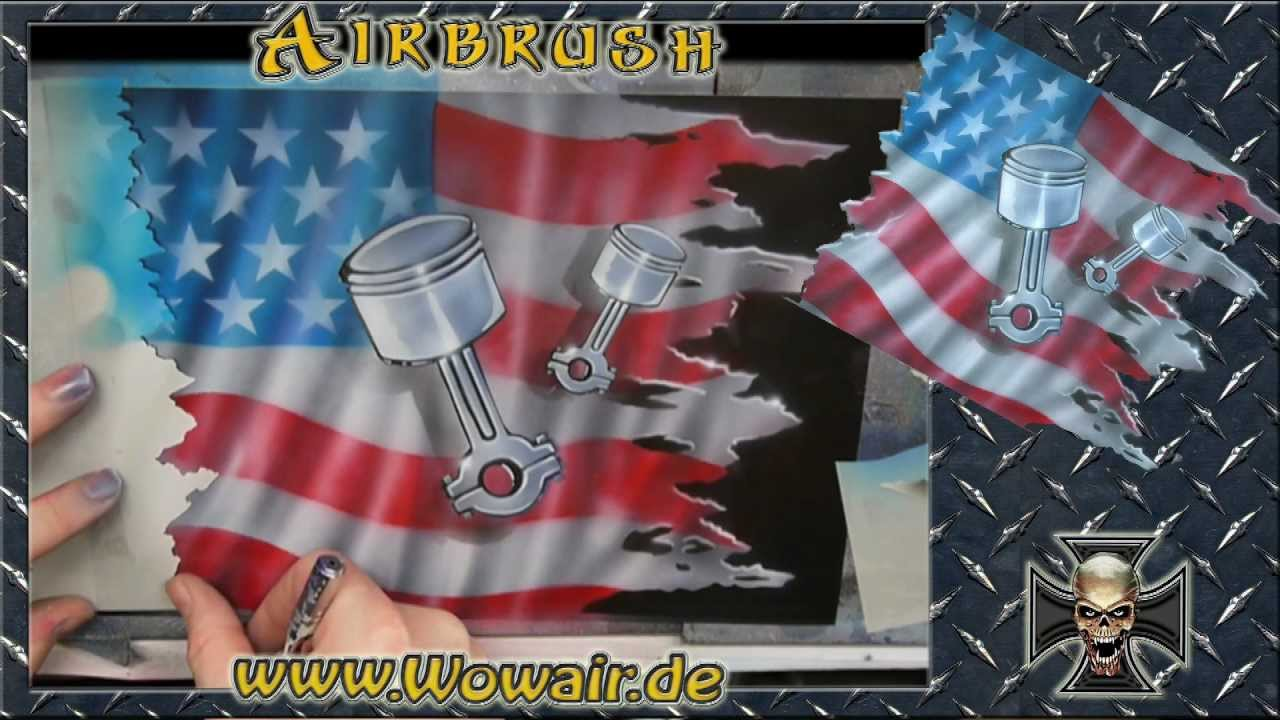Confederate Flag Wallpaper Hd No 270 Airbrush By Wow Quot Usa Flag Amp Pistons Quot Hd Mp4 Youtube