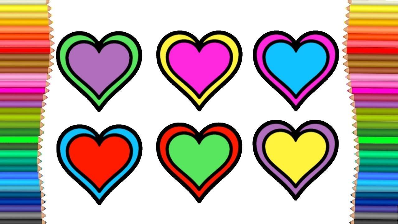 çocuklar Için Kalp çizimi Ve Boyama Sanat Renkleri Ve Boyama