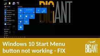windows 10 start menu button not working fix