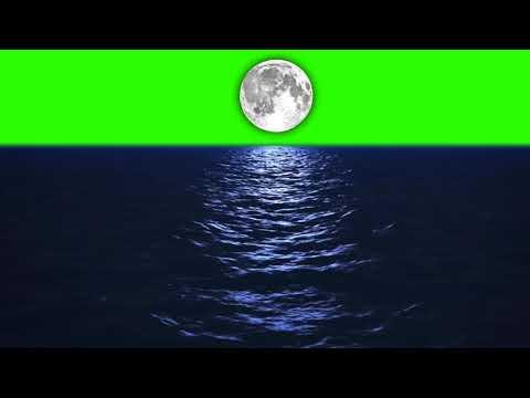 moon on night ocean video footage-GREEN SCREEN FREE NO COPYRIGHT thumbnail