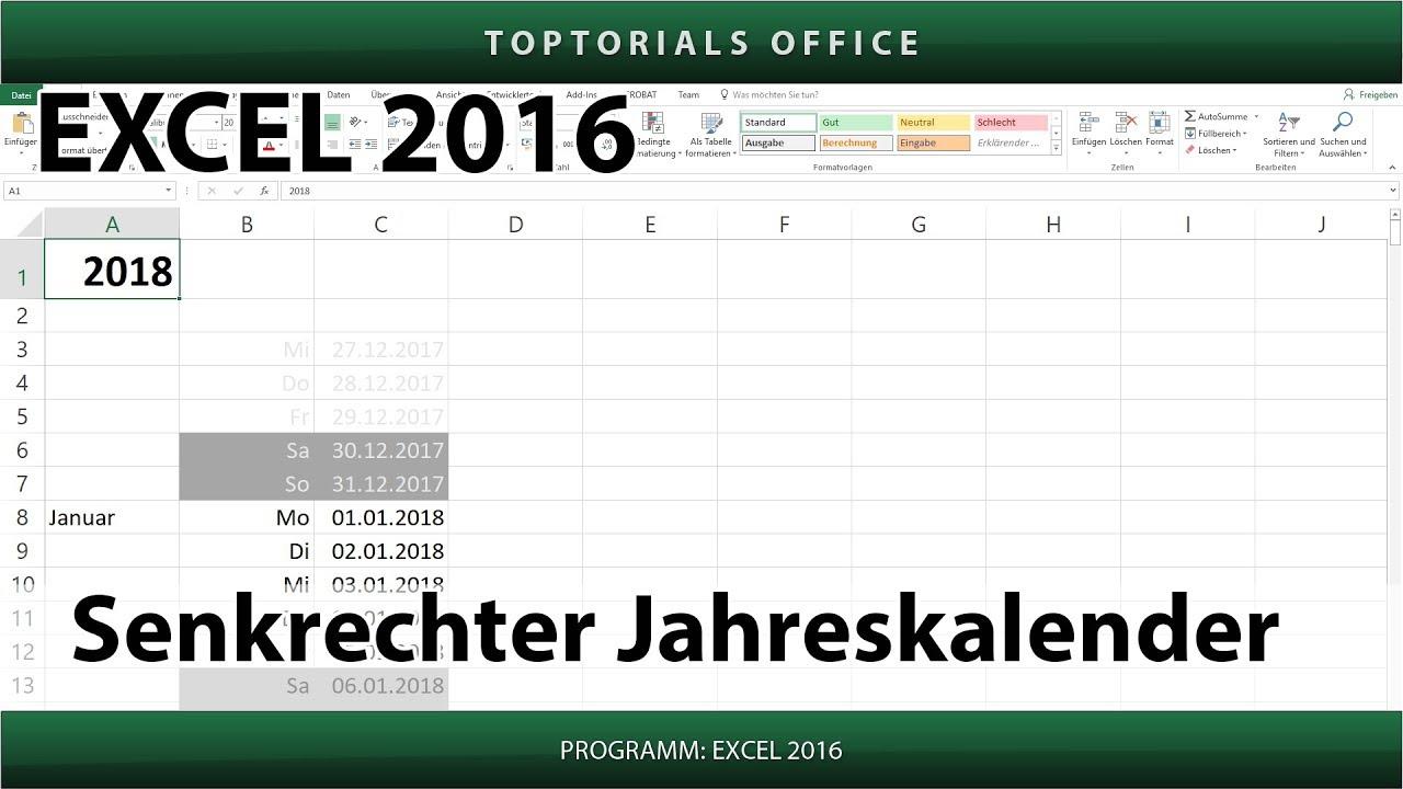 Senkrechter Jahreskalender (Excel) - YouTube