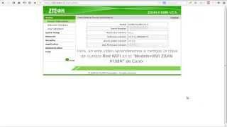 Como cambiar la clave WIFI de nuestro Modem+Wifi ZXHN H108N de Cantv