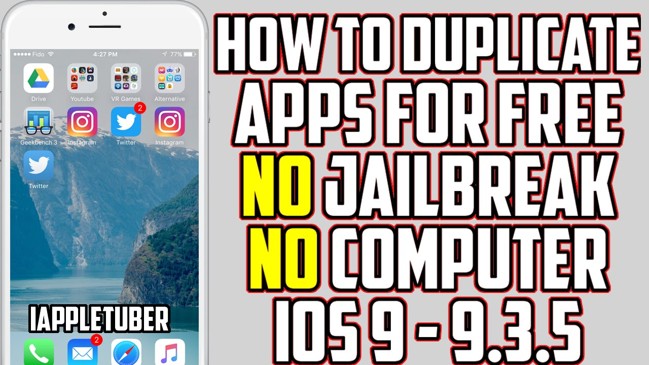 How To Duplicate Apps FREE iOS 9 - 9 3 5 (NO Jailbreak & NO Computer)  iPhone, iPad & iPod by iAppleTuber
