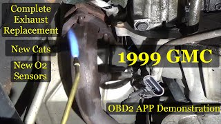 GMC Suburban complete exhaust system replacement. OBD app demonstration at end