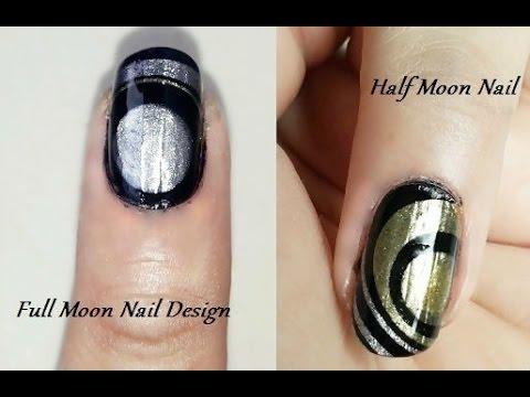 Water Marble Nail Art Designs Full Moon And Half Moon Youtube