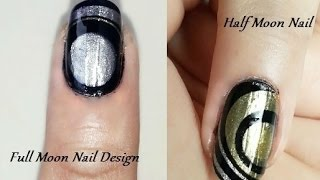 Water Marble Nail Art Designs - Full Moon and Half Moon