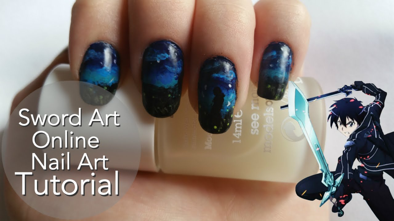 Sword Art Online Kirito Nail Art Tutorial - YouTube