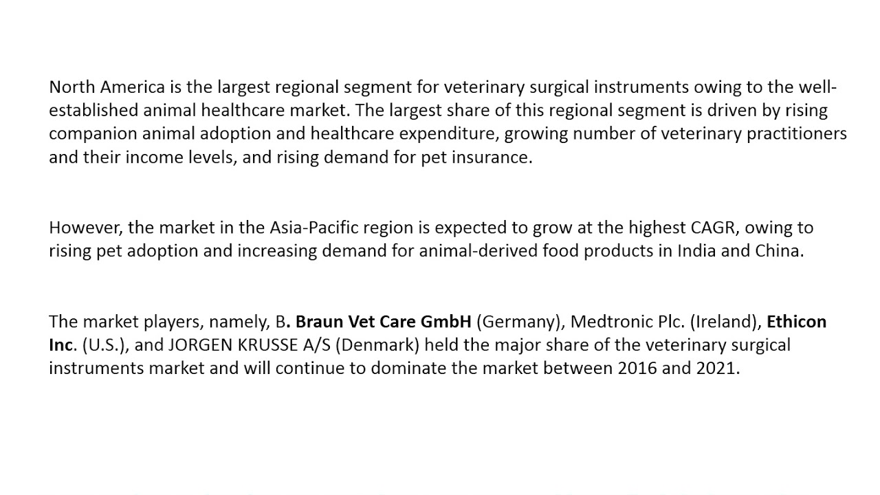 Veterinary Surgical Instruments Market worth 1,029 0 Million USD by 2021