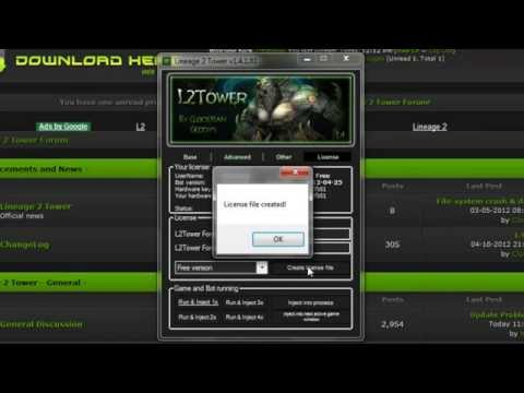 Lineage 2 bot L2TOWER (how to download and get license file) tutorial: 1 - Write in google