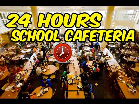 (FAIL!) 24 HOUR OVERNIGHT SCHOOL CAFETERIA FORT ⏰ | BEST SCHOOL CAFETERIA CHALLENGE (KICKED OUT!!)
