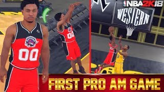 NBA 2K18 Pro Am: First Game No Badges! Unstoppable Build Dunks Every Time!