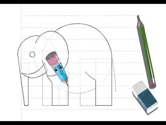 Vídeo de como desenhar um ELEFANTE (Hellokids)