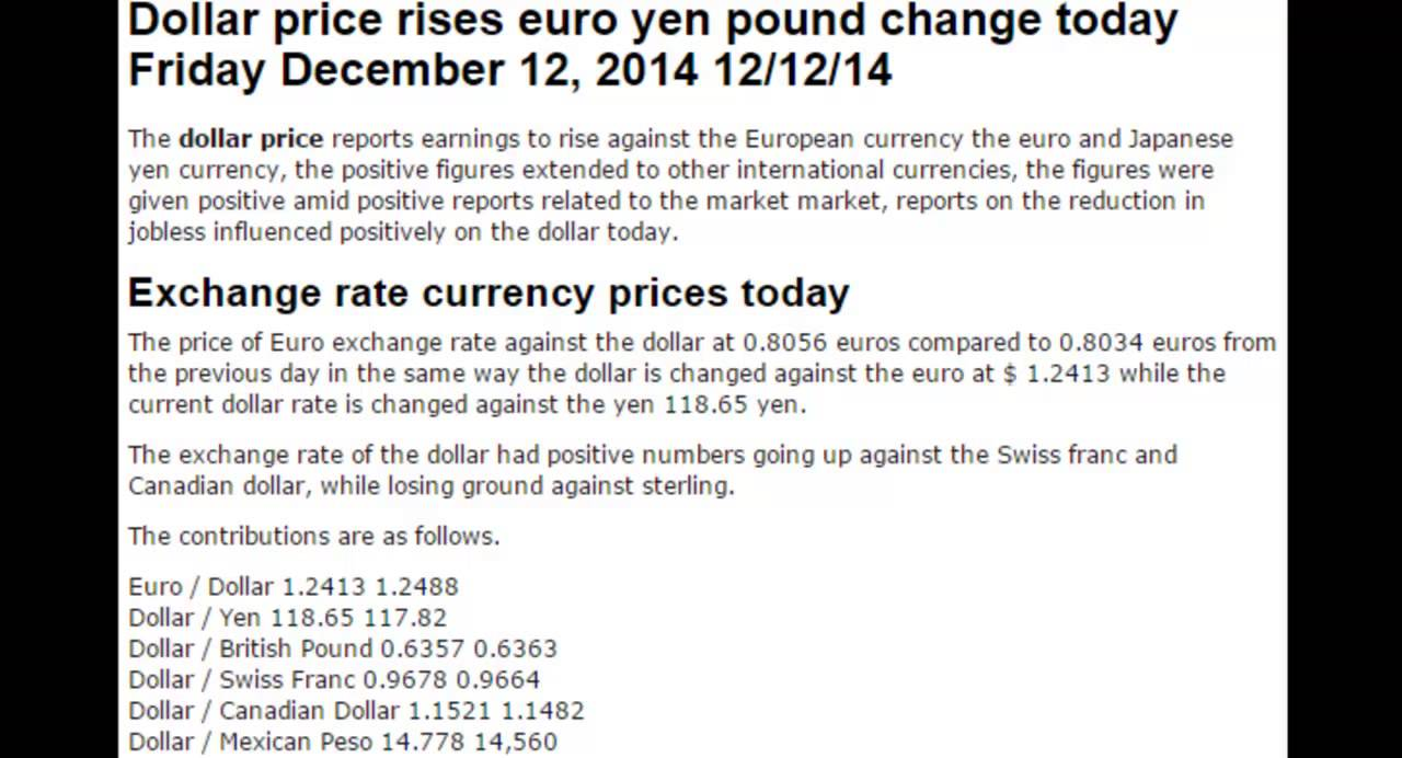 Dollar Euro British Pound Prices Today December Friday 12 2017 14
