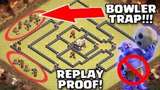 BOWLER TRAP WORKS |5 REPLAY'S | TH11 WAR BASE ANTI BOWLER/VALKS/LALOON/QUEEN WALK