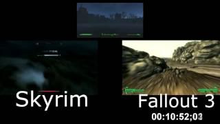 Сравнение Fallout 4 с Fallout 3 и Skyrim по размеру карты