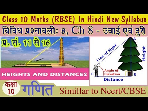 Q. No. 11 to 16 Ch 8 Height and Distance (ऊंचाई एवं दुरी ) Rbse Class 10 Maths In Hindi