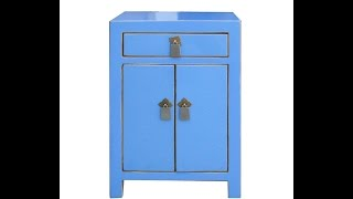 Nightstand End Table Chinese Blue Lacquer Moon Face Cabinet Wk2890
