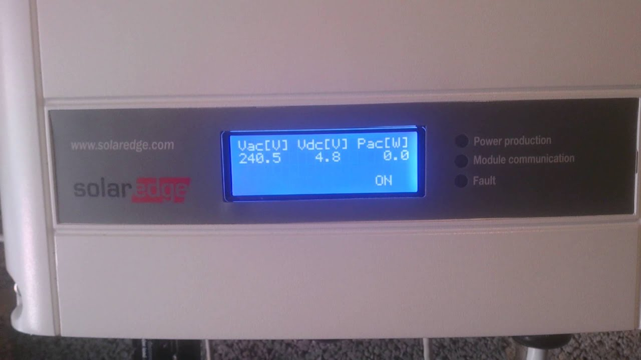 SolarEdge inverter fault - night mode