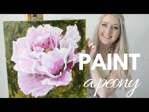 PAINTING TUTORIAL Acrylic Peony Flower Techniques | Katie Jobling Art