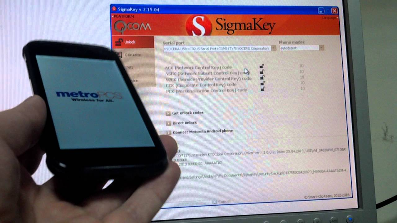 Unlock Kyocera C6522 with Sigmakey