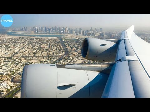 Lufthansa A340-600 Epic Engine-View Takeoff from Dubai International Airport!