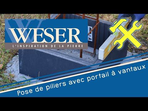 Mise En Oeuvre Piliers De Clôture Weser Avec Un Portail
