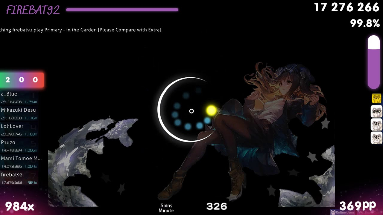 Firebat92 Primary In The Garden Please Compare With Extra 1st Hd Fc 99 84 1 Osu Youtube
