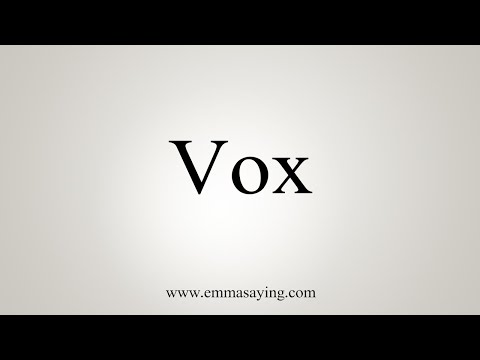 How To Say Vox Youtube