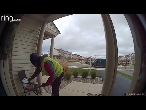 None - Amazon Delivery Driver Does Dance After Homeowner Leaves Snacks For Him