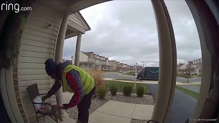 Amazon delivery driver dances with delight for basket of treats at door, video goes viral