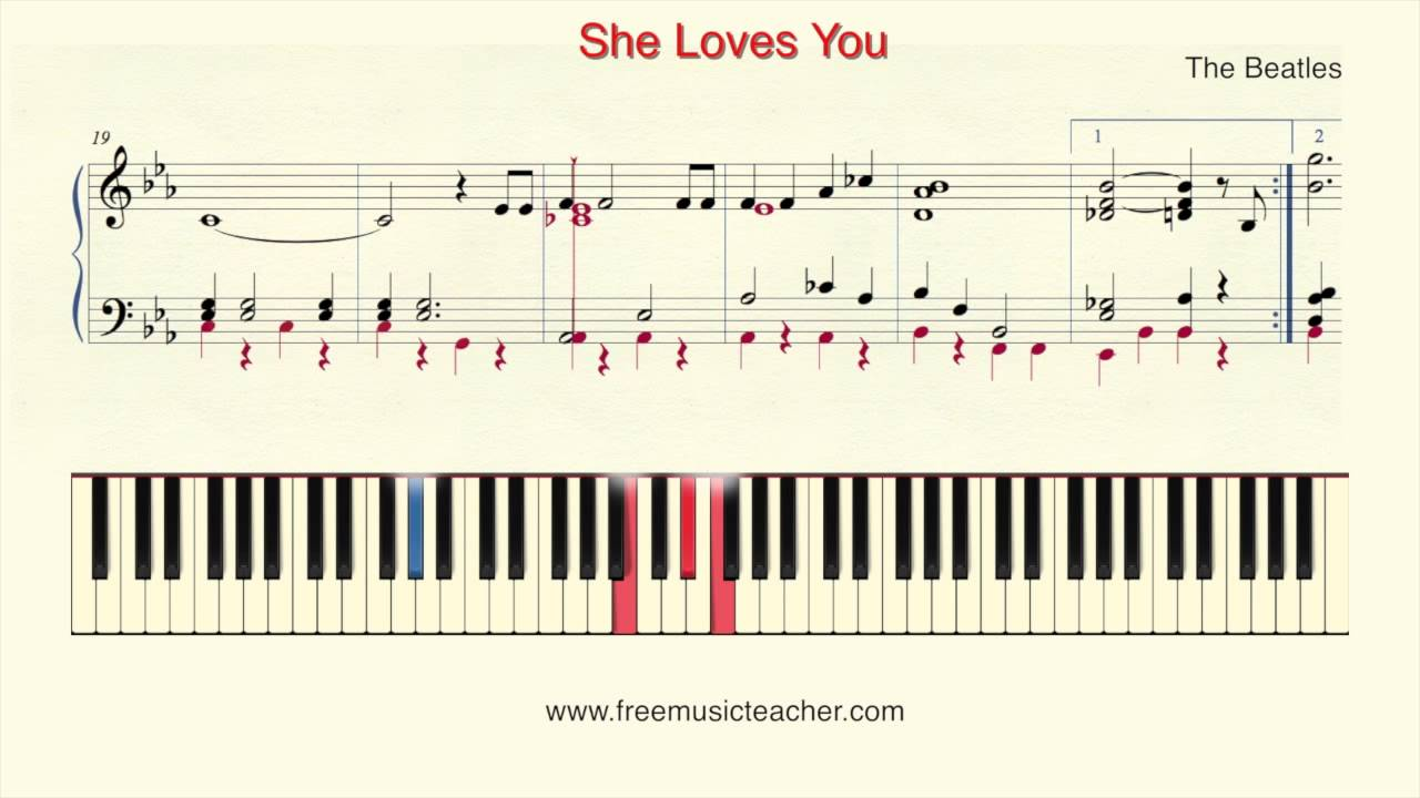 How To Play Piano The Beatles She Loves You Piano Tutorial By Ramin Yousefi Youtube