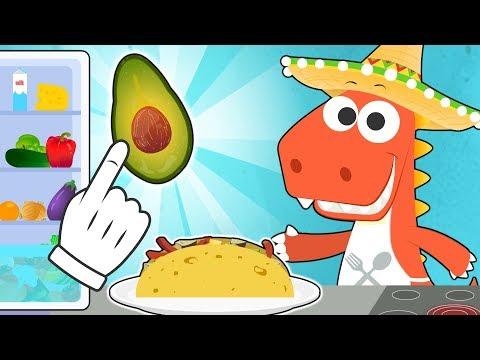 Aprende con Eddie cómo cocinar fajitas 🌮 Eddie el dinosaurio hace comida mexicana