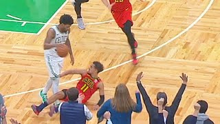 Trae Young Gets Disgustingly Disrespected By Marcus Smart Who Steps On Him! Celtics vs Hawks