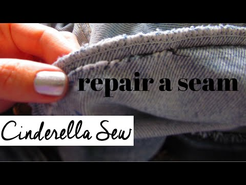 Sew up the seam of pants - Fix a seam - Repair seams in clothing - Easy hand sewing DIY