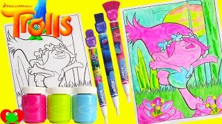 Trolls Poppy Crayola Washable Paints Coloring Page with LOL Doll Surprises