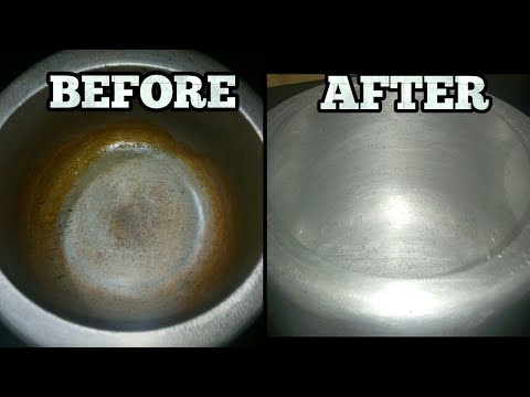 How to clean a stained pressure cooker- How to clean a burnt pan- How to clean aluminium utensils