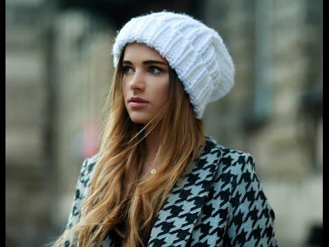 Вязаные шапки 2016 шапки с косами и без - YouTube